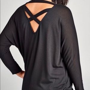 Black Top with cinching at sides & criss cross